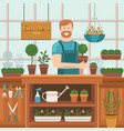 the seller in store gardening vector image vector image