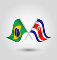 two crossed brazilian and costarican flags vector image