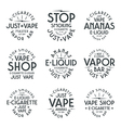 Vapor bar and vape shop typographic labels vector image