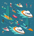 water sports colored people composition vector image vector image