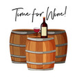 wine glass and bottle on barrels vector image