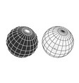wireframe and silhouette a globe vector image