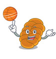 with basketball challah character cartoon style vector image vector image