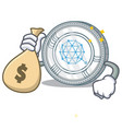 with money bag qtum coin character cartoon vector image vector image