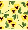 yellow pansy flower on light yellow background vector image vector image