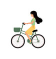 young girl riding bicycle with basket isolated on vector image