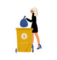 young woman holding trash sack plastic waste vector image vector image