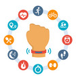 activity tracker-band and set related icons vector image vector image