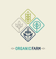 agriculture and organic farm line logo vector image vector image