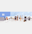 airport guards checking and controlling people and vector image vector image