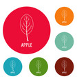 apple leaf icons circle set vector image vector image