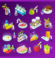 artificial food isometric icons vector image vector image