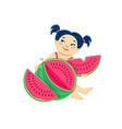 cartoon asian girl eating watermelon vector image vector image