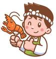 cartoon chef presenting food vector image vector image
