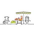 cartoon producer selling organic fruits vector image