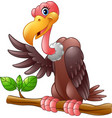 cartoon vulture on a tree branch vector image vector image