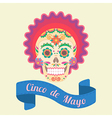 Cinco de Mayo painted skull vector image