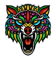 colorful wolf head vector image vector image