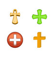 cross icon set cartoon style vector image vector image