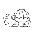 cute cartoon turtle on white vector image vector image