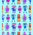 cute robots on white background vector image vector image