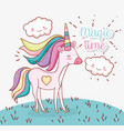 cute unicorn hairstyle with heart and clouds vector image vector image