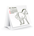 December 2014 desk horse calendar vector image vector image