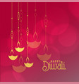 diwali festival greeting card design with hanging vector image vector image