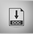 doc file document icon download doc button icon vector image vector image
