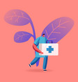 doctor or nurse in robe with medical tools in box vector image vector image
