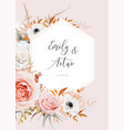 elegant fall wedding invite floral card design vector image vector image