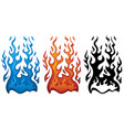 fire in red blue and black flames vector image vector image