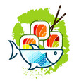 fish and sushi silhouette vector image vector image