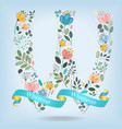 floral letter w with blue ribbon vector image vector image
