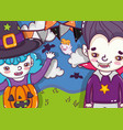 halloween cute cartoons vector image