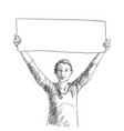 happy woman showing blank long banner in hands vector image vector image