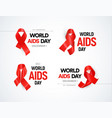 hiv awareness logo set red ribbons with glare vector image vector image