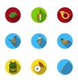 Hunting set icons in flat style Big collection of vector image vector image