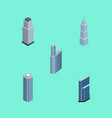 isometric skyscraper set of skyscraper vector image vector image