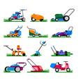 lawn mower gardening lawnmower electric vector image
