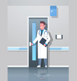 male doctor with clipboard and stethoscope opening vector image vector image