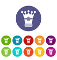 medieval crown icons set flat vector image vector image