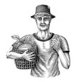 men holding baskets cocoa fruit hand draw vector image