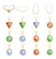 necklace jewelry chain mockup set realistic style vector image vector image