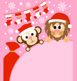 new year background card with monkey and lion vector image vector image
