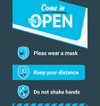 poster come in we are open printable and social vector image vector image