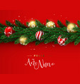 red christmas wreath ornament banner in spanish vector image vector image