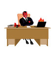 red demon boss at job table satan leader sitting vector image vector image