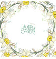 round frame with pretty yellow daffodils vector image vector image
