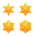 set of four golden six point stars vector image vector image
